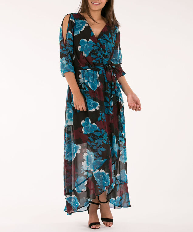 Cold Shoulder Wrap Maxi Dress, Black Teal Port, hi-res