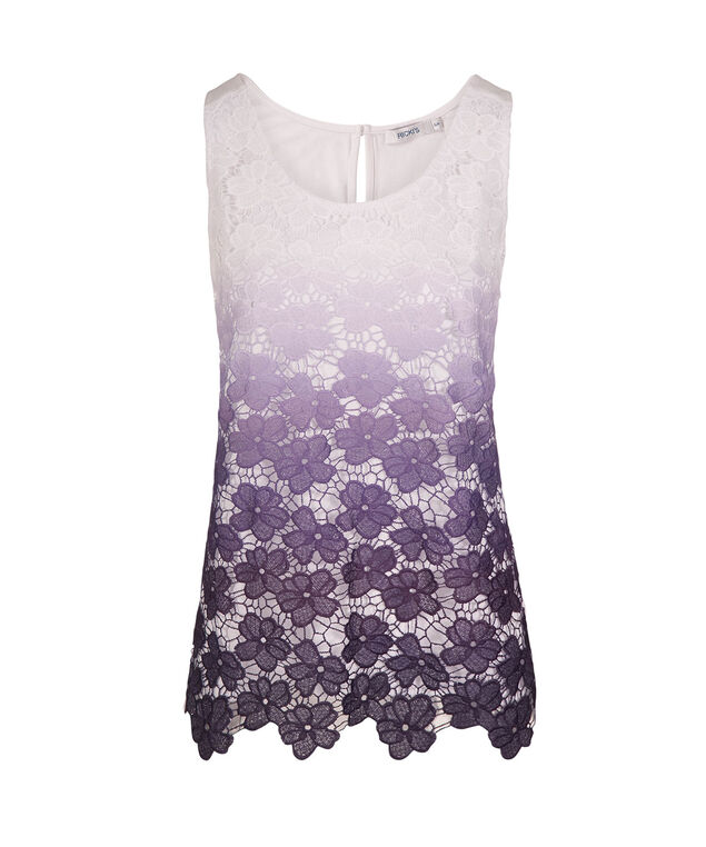 Sleeveless Crochet Lace Top, Purple Ombre, hi-res