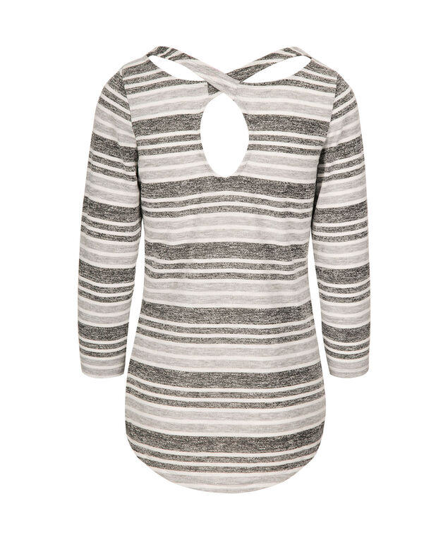 Striped Cross Back Top, Grey/White, hi-res