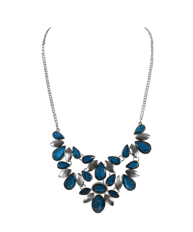 Stone Teardrop Statement Necklace, Midnight Teal/Rhodium, hi-res
