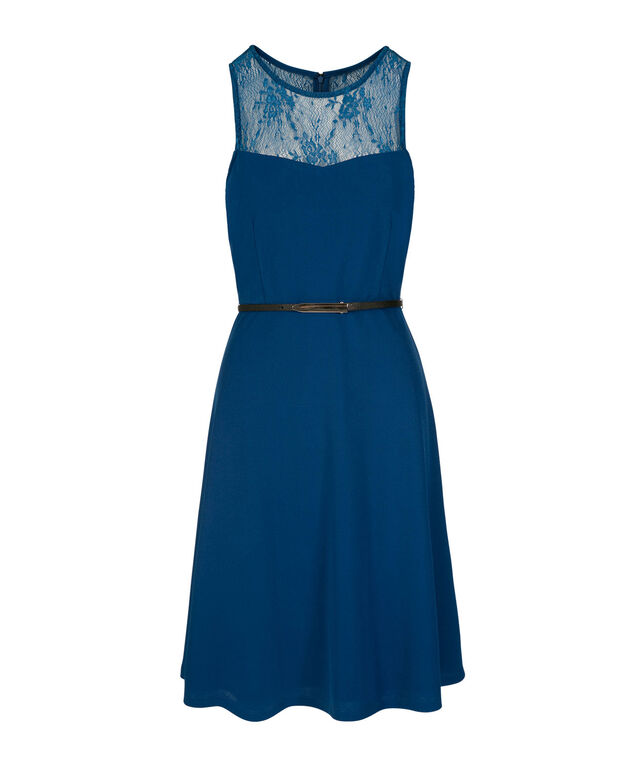 Lace Illusion Neck Belted Dress, Blue, hi-res