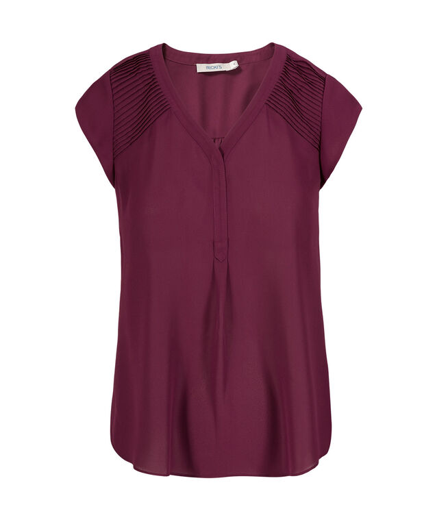 Henley Pintuck Blouse, Black Cherry, hi-res