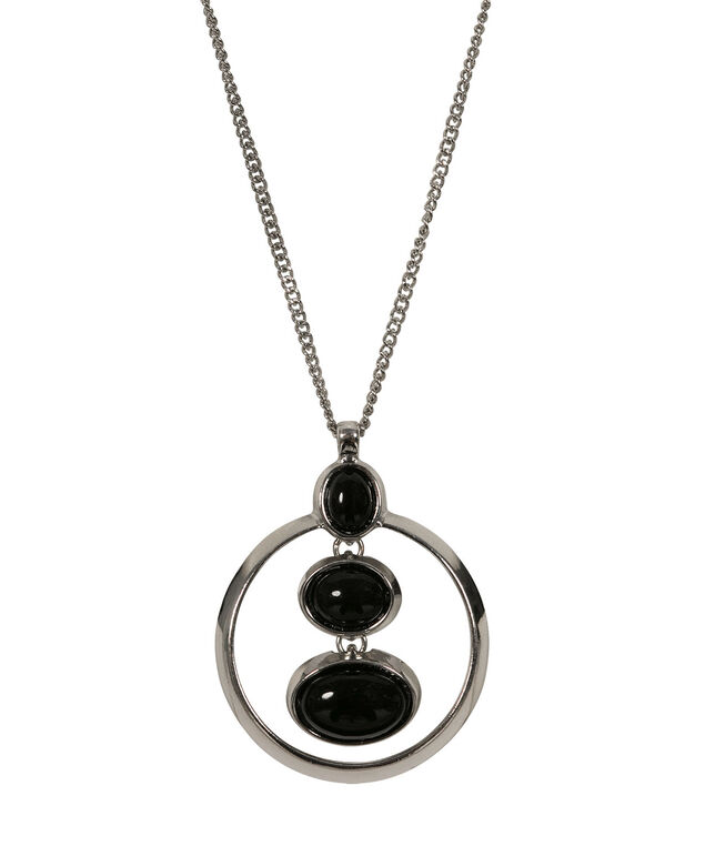Stacked Oval Cateye Pendant Necklace, Black/Rhodium, hi-res