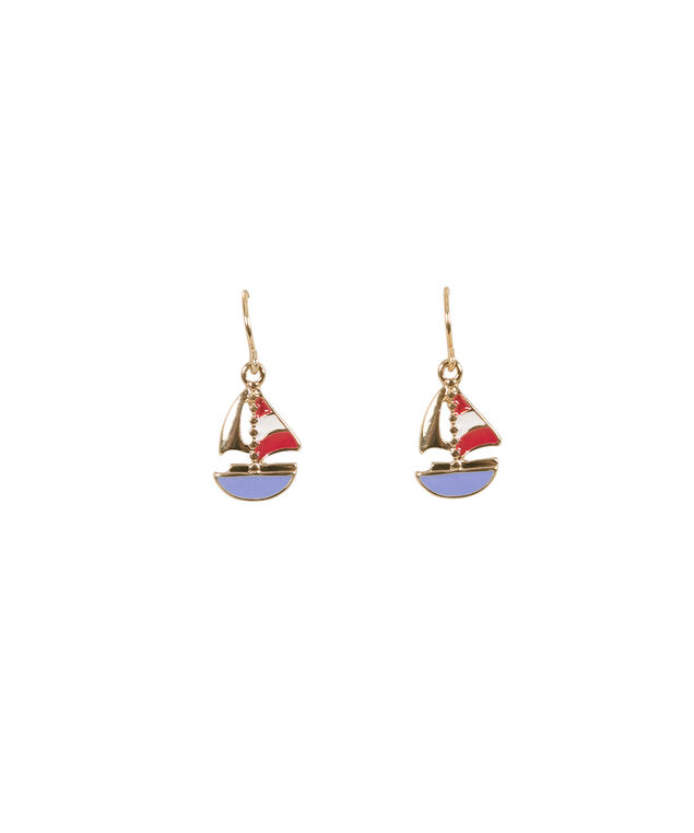 Sailboat Earrings, Red/White/Navy/Soft gold, hi-res