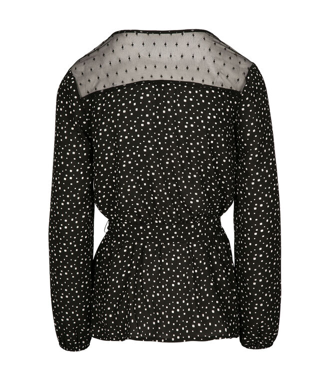 Lace Trim Wrap Blouse, Black/White Dot, hi-res