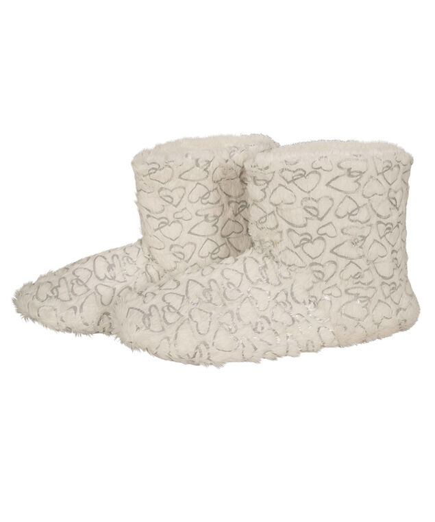 Heart-Filled Plush Slipper Bootie, Ivory/Silver, hi-res