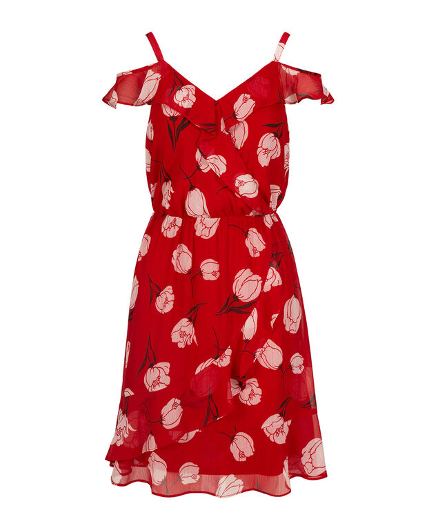 Cold Shoulder Ruffled Tulip Dress, Red/White Print, hi-res
