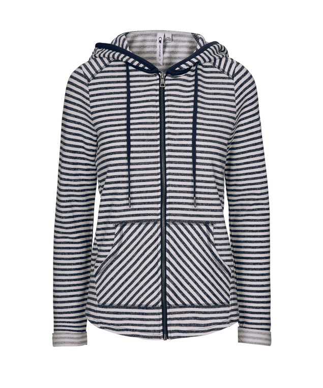 Navy Stripe Cotton Hoodie, Summer Navy/White Stripe, hi-res