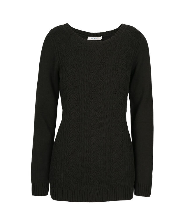 Button Back Pullover, Black, hi-res