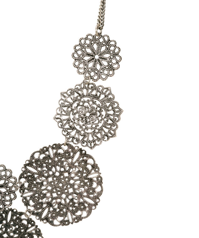 Filigree Medallion Statement necklace, Burnished Silver, hi-res