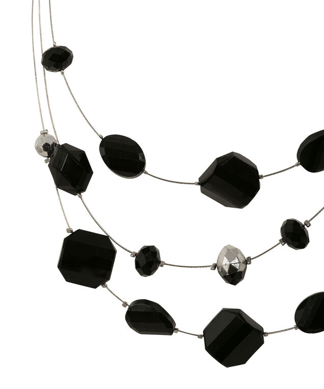 Faceted Stone Wire Necklace, Black/Rhodium, hi-res