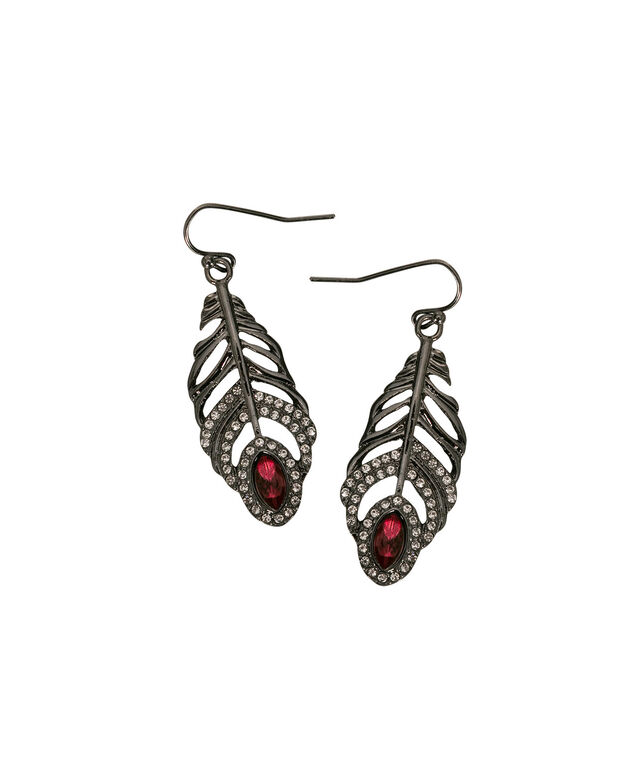 Crystal Feather Earring, Port/Rhodium, hi-res