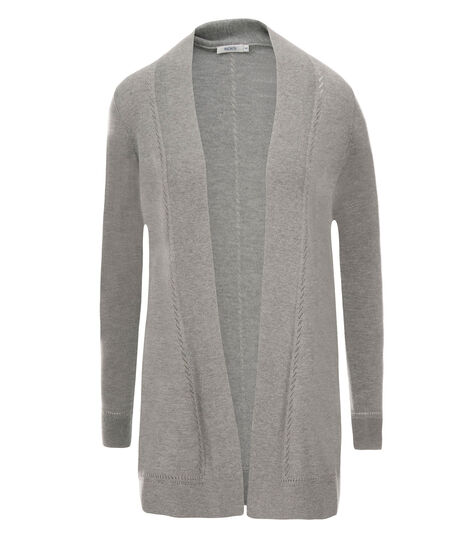 Pointelle Trim Tunic Cardi, Grey, hi-res