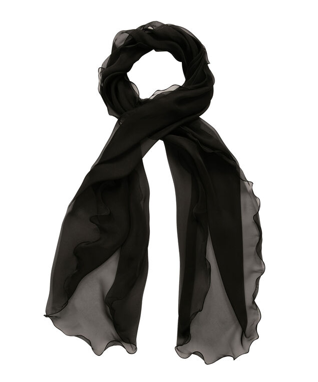 Wavey-Edge Shawl Cover-Up, Black, hi-res