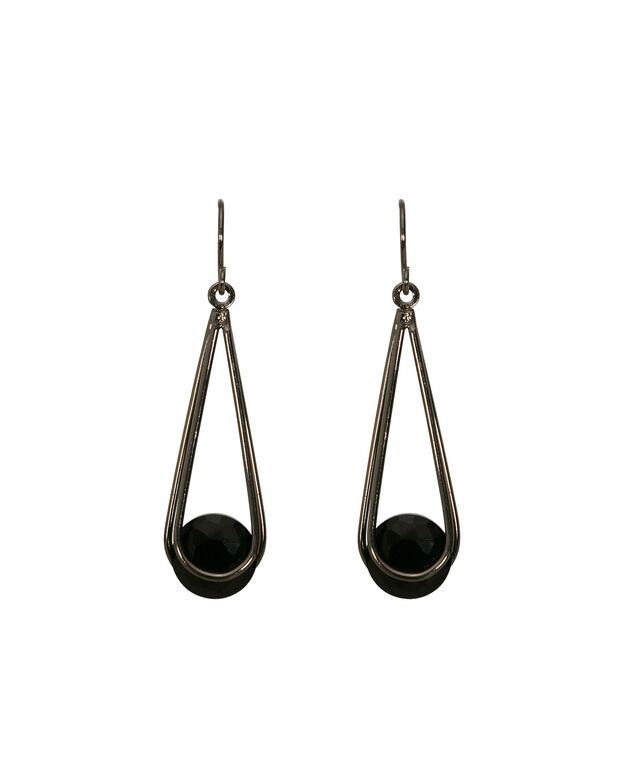 Crystal Stone Drop Earring, JET/HEM, hi-res