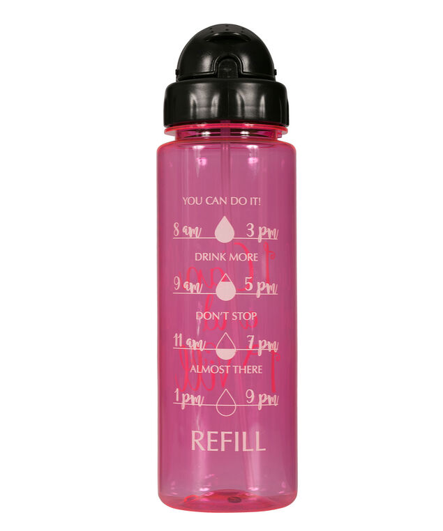 I Can I Will Water Bottle, Pink/Black, hi-res