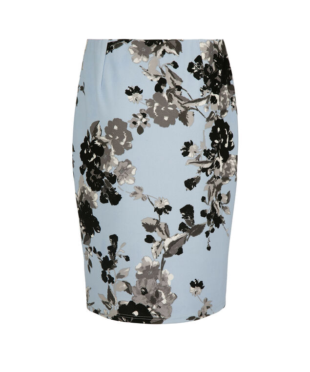 Scuba Crepe Pencil Skirt, Frosted Blue/Black Print, hi-res