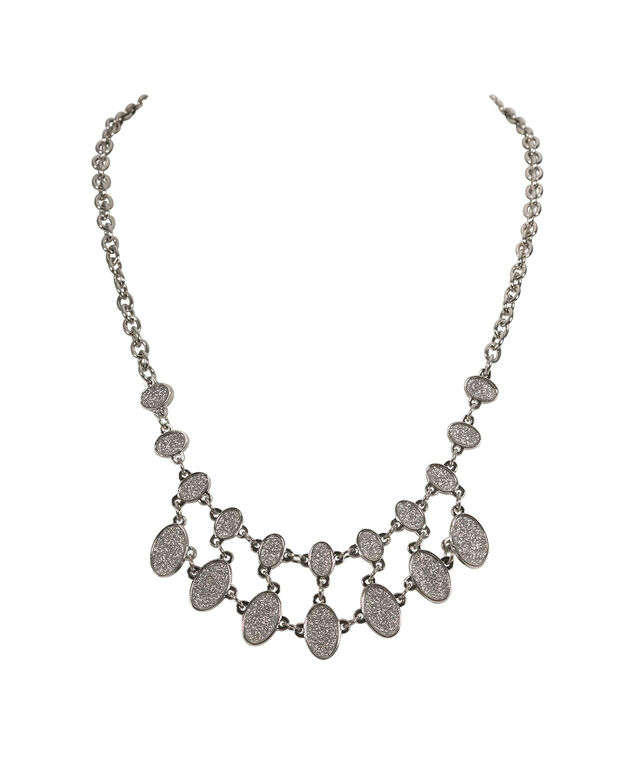 Oval Glitter Paper Statement Necklace, Silver/Rhodium, hi-res