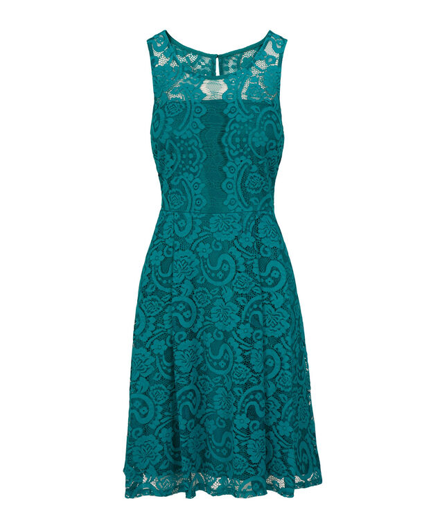 Lace Illusion Neck Dress, Teal, hi-res