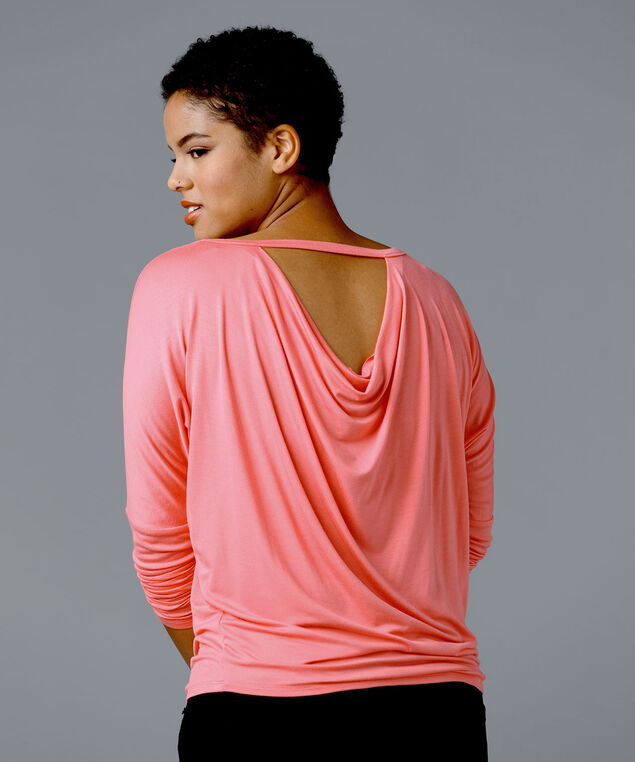 Cowl Back Long-Sleeve Tee, Taffy, hi-res