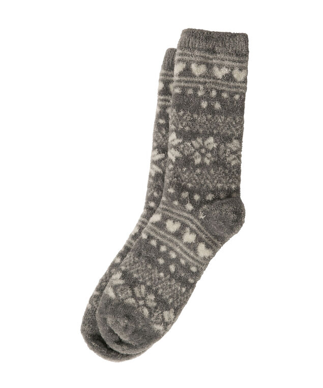 Plush Fairisle Socks, Grey Mix, hi-res
