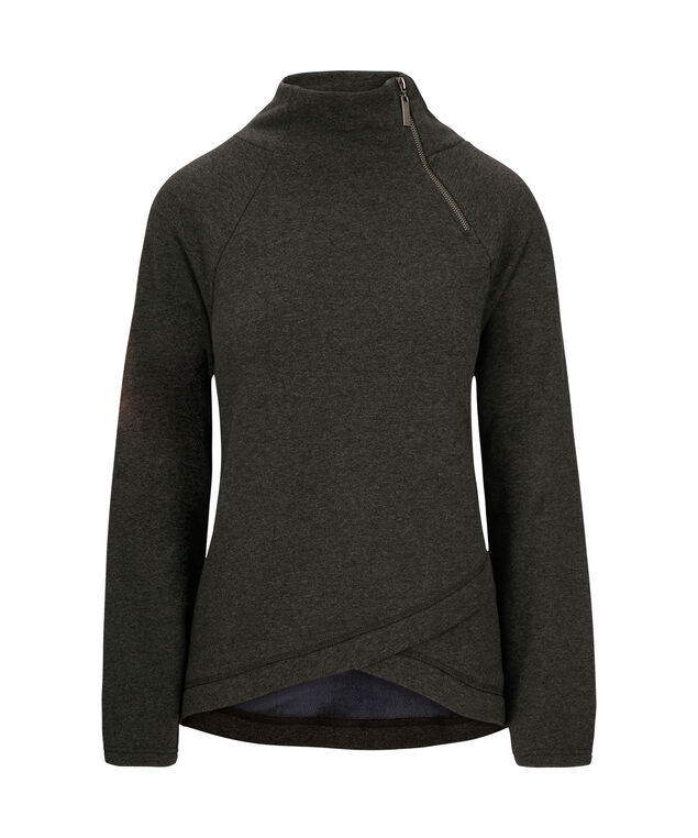 Criss-Cross Funnel Neck Pullover, Charcoal, hi-res