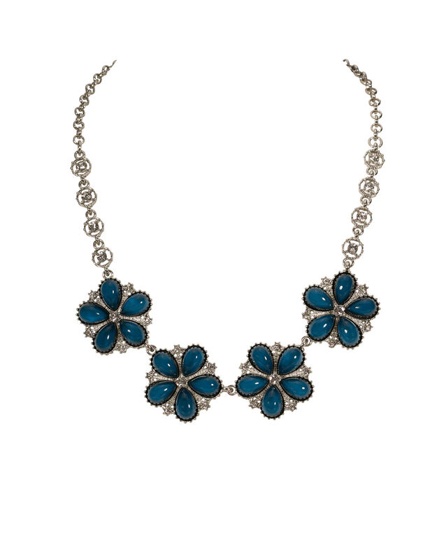 Stationed Flower & Crystal Statement Necklace, Ocean/Rhodium, hi-res