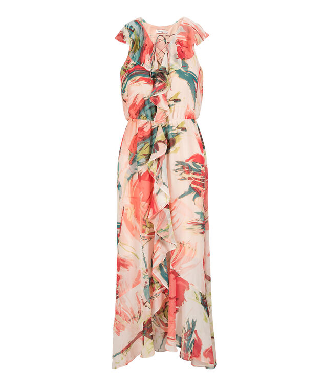 Ruffled Lace-Up High-Low Maxi Dress, Coral Print, hi-res