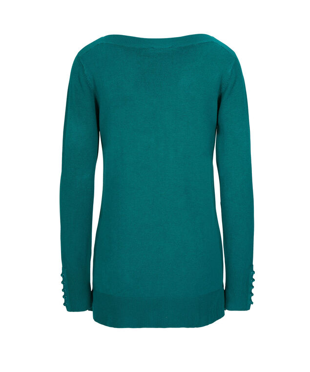 Lace-Up Cuff Sweater, Teal, hi-res