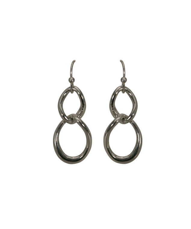 Interlocked Ring Earring, Rhodium, hi-res