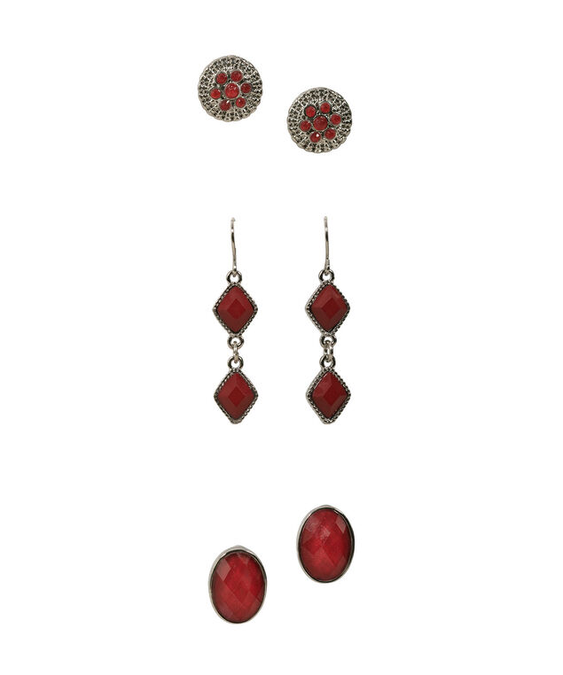TRIO EARRING SET, Crimson/Rhodium, hi-res