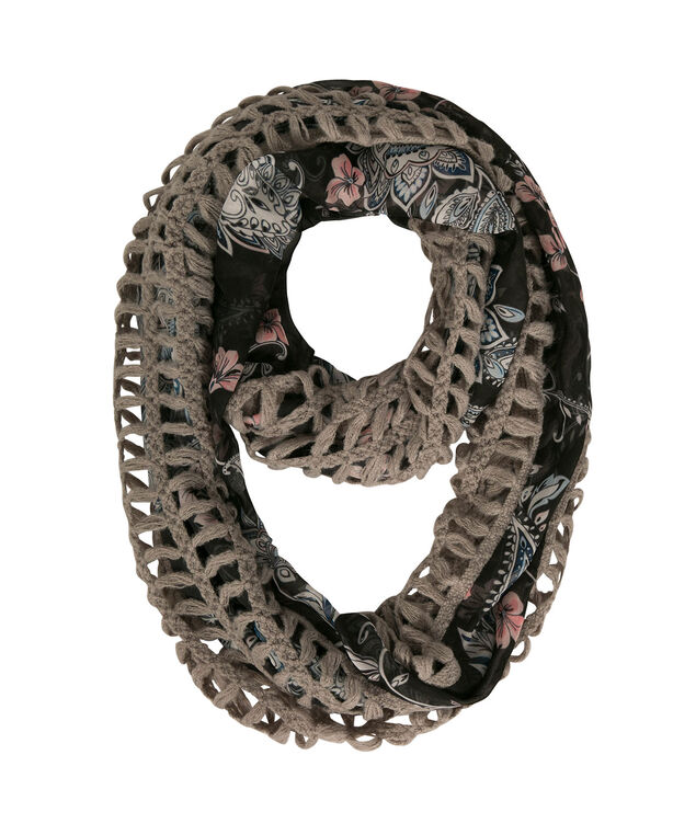 Paisley Woven-Knit Eternity Scarf, Grey/Apricot/Light Blue, hi-res