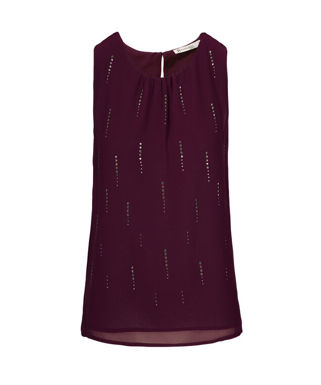 Stud Detail Blouse Tank, Wineberry, hi-res