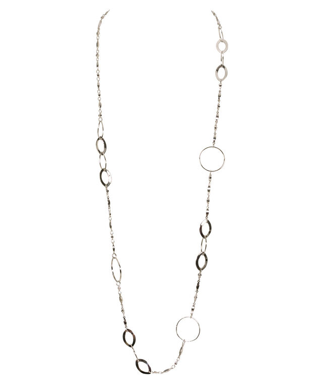 Stationed O-Ring & Oval Link Necklace, Rhodium, hi-res