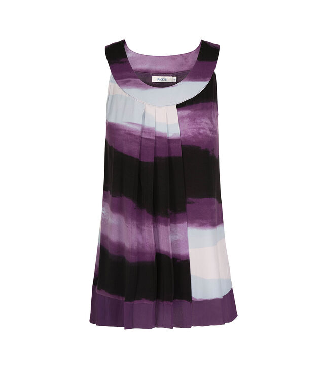 Sleeveless Pleated Chiffon Trim Top, Black/Deep Purple Dip Dye, hi-res