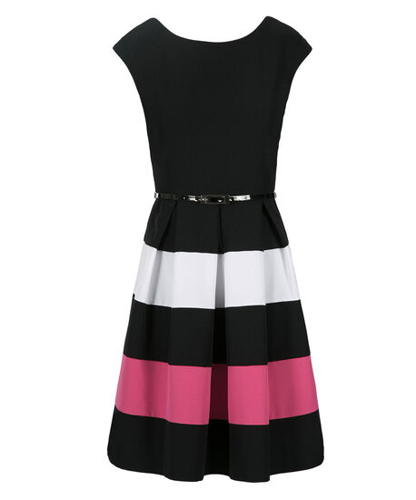 Colourblock Stripe Dress, Black/White/Pink, hi-res