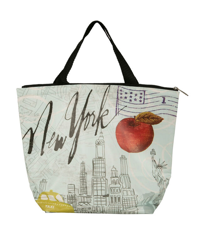 New York Lunch Tote, Blue/Black, hi-res
