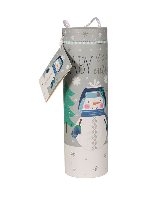 BABY IT'S COLD OUTSIDE Wine Gift Carrier, Grey/White, hi-res