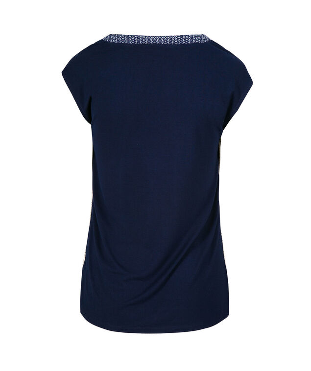 Extend Sleeve V-Neck, Blue Pattern, hi-res