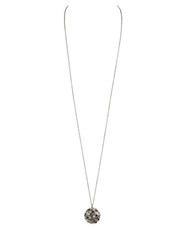 Crystal Cluster Pendant Necklace, Grey/Clear/Rhodium, hi-res