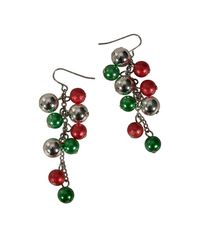 Ornament Cluster Earring, Crimson/Green/Rhodium, hi-res