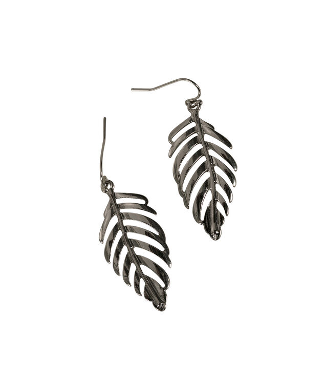 Leaf Earring, Burnished Silver, hi-res