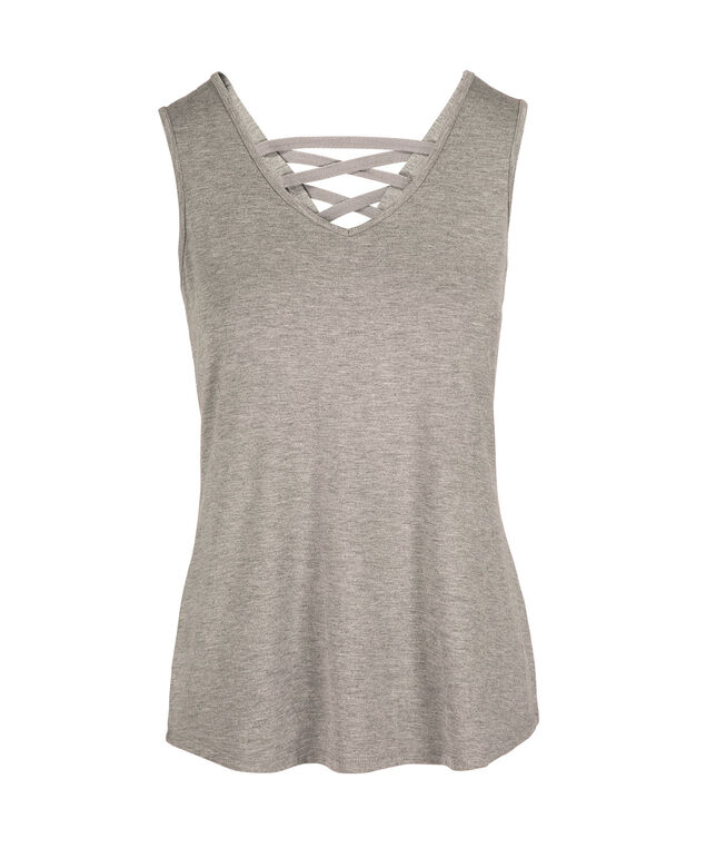 V-Neck Lace Up Back Athleisure Tank, Heather Grey, hi-res