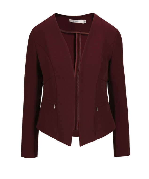 Textured Open Blazer, Burgundy, hi-res