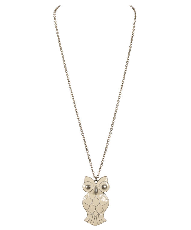 Epoxy Painted Owl Necklace, Soft Yellow/Burnished Silver, hi-res