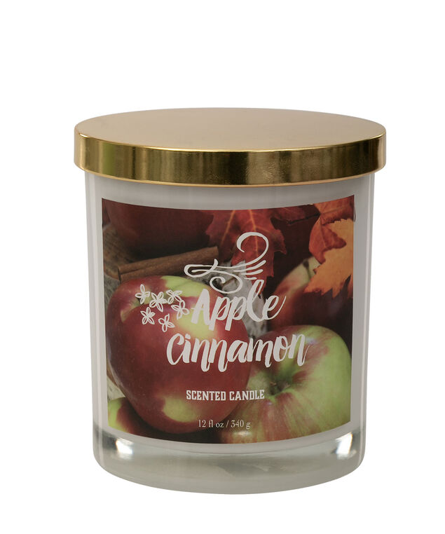 Apple & Cinnamon Scented Candle, Gold/White, hi-res