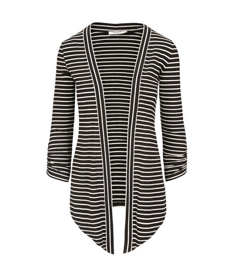 Drape Front Open Cardigan, White/Black Stripe, hi-res