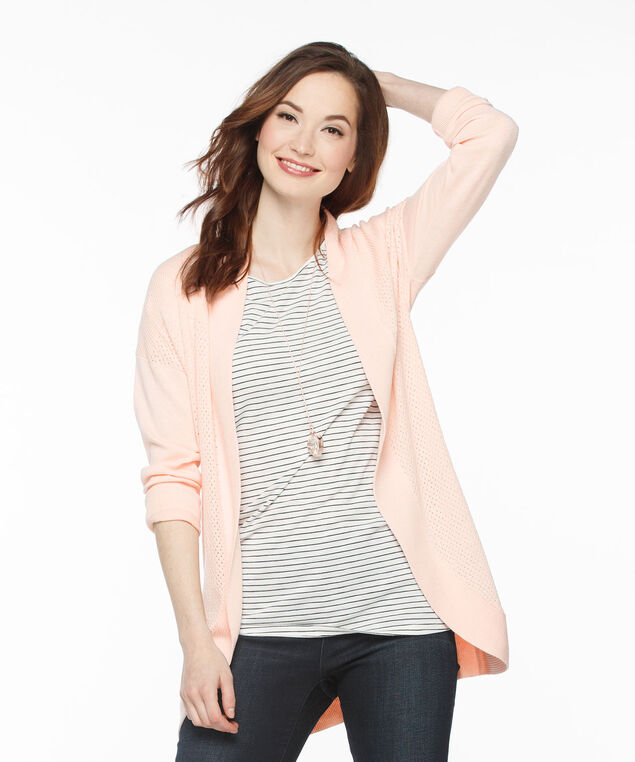 Ribbed Cocoon Cardigan, Soft Peach, hi-res