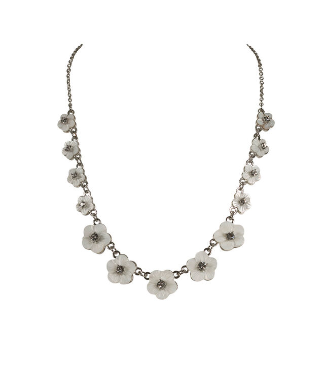 Mini Flower Statement Necklace, White/Rhodium, hi-res