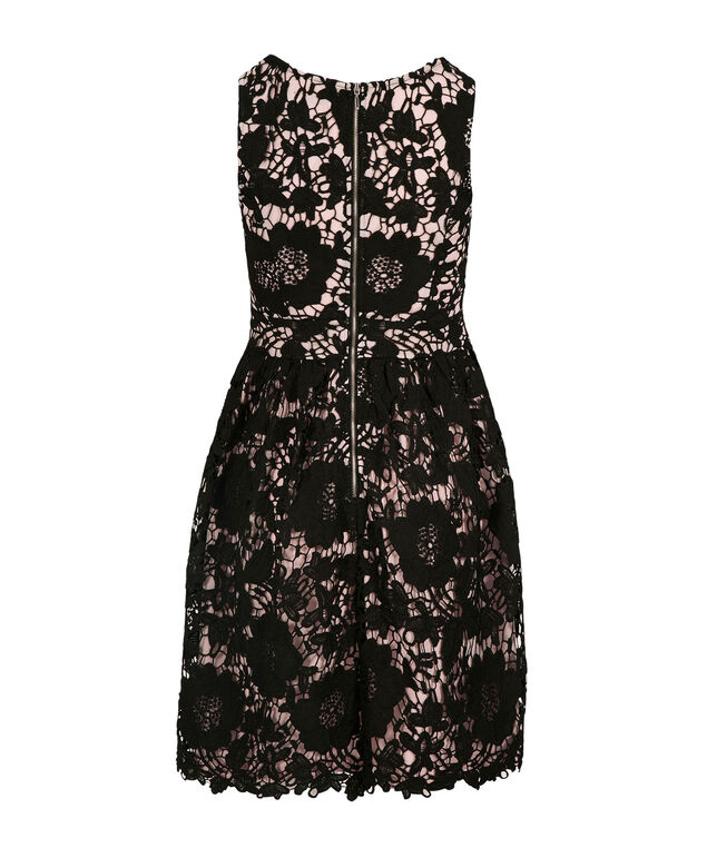 Crochet Lace Fit and Flare Dress, Black/Rosewater, hi-res